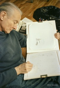 Chronology: Roy Lichtenstein drawing in his Washington Street studio, ca. 1997. © Bob Adelman