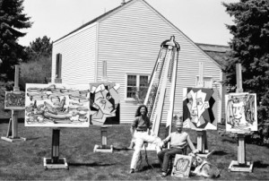 Roy Lichtenstein with Dorothy Lichtenstein outside his Southampton studio, ca. 1981. Photograph by Arthur Schatz
