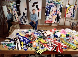 Roy Lichtenstein in his studio on East 29th Street with Face in Forest and Blonde (both 1986). Thomas Hoepker/Magnum Photos