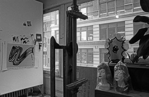 Roy Lichtenstein in his studio at 190 Bowery, New York, ca. 1967. Photograph by Ugo Mulas © Ugo Mulas Heirs. All rights reserved