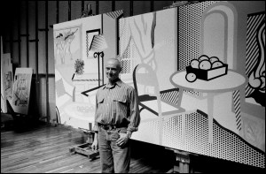 Chronology: Roy Lichtenstein in his Washington Street studio with Interior with Painting of Trees and Interior with Box of Yellow Apples (both 1997). Photograph by Inge Morath © Inge Morath Foundation/Magnum Photos.