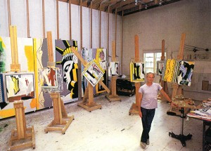 Roy Lichtenstein in his Southampton studio, ca. 1982. Photograph by Kan Okano