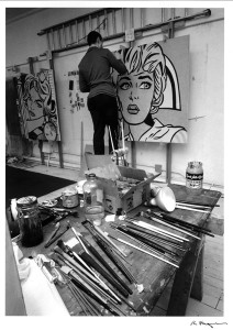 Roy Lichtenstein working on his painting, Nurse (1964) in his studio at 36 West 26th Street, New York. © Ken Heyman/Courtesy Roy Lichtenstein Foundation Archives