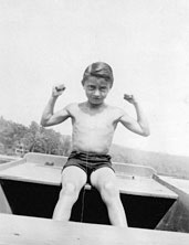 Lichtenstein, age eleven, at Lake Buel, in Massachusetts, 1933. Photographer unknown. The Roy Lichtenstein Foundation Archives.