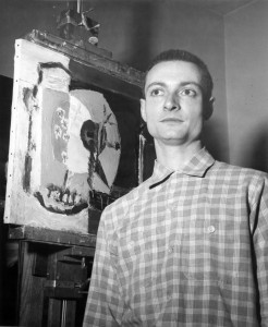 Roy Lichtenstein in his home studio in Cleveland, Ohio, mid-1950s. Photograph by Ray Sommer