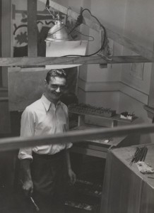 Roy Lichtenstein in his studio in Columbus, Ohio, ca. 1949. The Roy Lichtenstein Foundation Archives