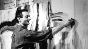 Roy Lichtenstein in his studio at Douglass College, Rutgers, the State University of New Jersey, New Brunswick, NJ, ca. 1961 Photographed by Samuel Weiner/Used by permission